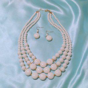 White Bead Multi Strand Necklace Earring Demi